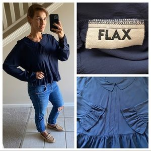FLAX Ruffle Collared Blouse Navy Boxy Top